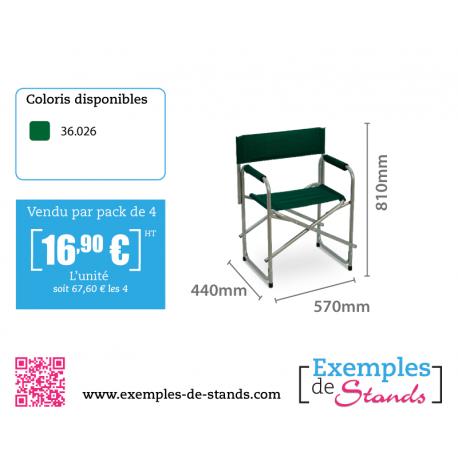 Lot de 4 chaises pliantes design Director nylon vert foncé