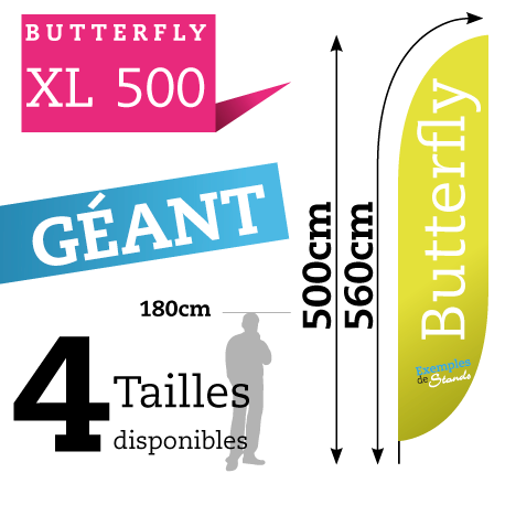 prix beachflag geant 5 mètres pas cher Butterfly XL 500