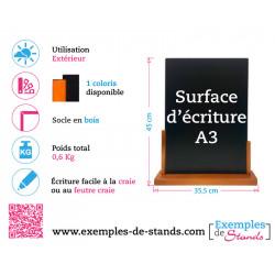 Porte menu de table ardoise avec socle en bois Format A3