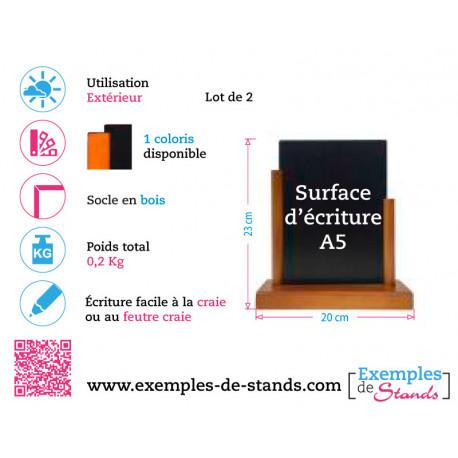 porte-menu de table ardoise en PVC avec socle en bois format A5